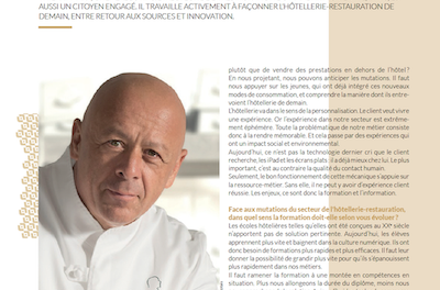 Fine hotel dining of the future: Towards a community approach, interview with chef Thierry Marx